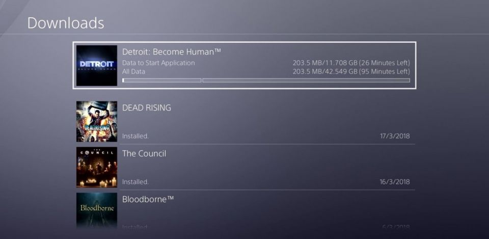 Detroit: Become Human, PS4'te 42.5GB boyutunda yer kaplayacak.