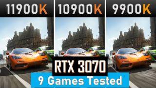 intel 11th gen 11900k vs 10900k vs 9900k Gaming benchmarks RTX 3070